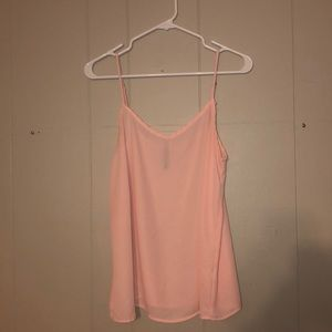 Allison Joy |Evereve| Peach Sheer V-Neck Tank.